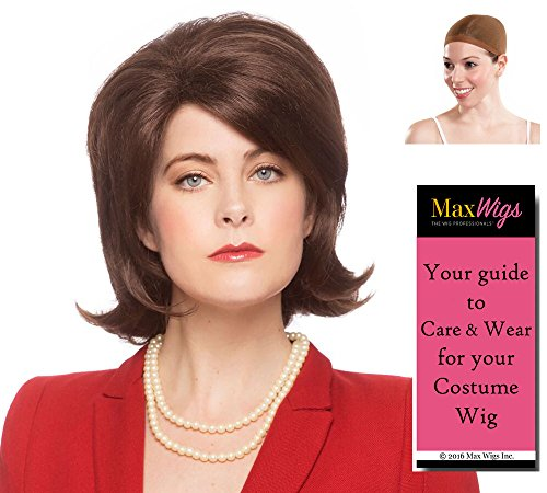 Michelle Obama Color Dark Brown - Enigma Wigs First Lady Hair Style Presidential Female Classic Cut Bundle w/Cap, MaxWigs Costume Wig Care Guide -