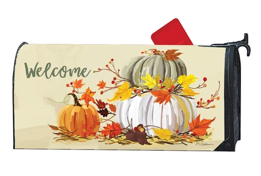 Studio M Fall Outdoor Mailbox Cover MailWrap - Neutral Pumpkins