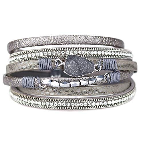 Eivanc Grey Wrap Leather Bracelet Multi-Layer Natural Stone Rhinestone Crystal Braided Cuff Bohemia Boho Braided with Magnetic Buckle Vintage Bracelet Gifts for Women and Girls