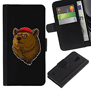 Paccase / Billetera de Cuero Caso del tirón Titular de la tarjeta Carcasa Funda para - Bear Brown Animal Forest Portrait Glasses Red Hat - Samsung Galaxy S4 IV I9500