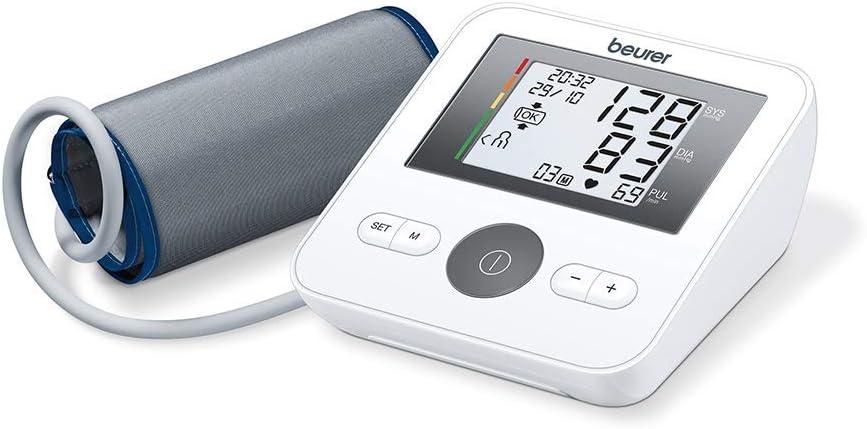 Beurer BM27l tensiómetro de brazo, funcion ok, medición automática, manguito universal, detección arritmia, pantalla clara, memoria 4 x 30 miediciones, color blanco