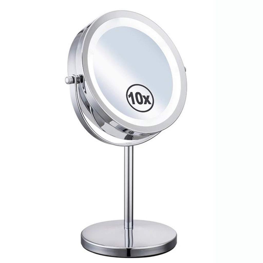 Desktop Kosmetikspiegel, LED beleuchteter Schminkspiegel, beidseitiger Schminkspiegel mit normaler und 10-facher Vergrößerung