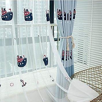 Lactraum Vorhang Kinderzimmer Jungen Blickdicht Blau Maritim Stickerei Schiff M/öwe Delphin mit Universalband 100 x 245 cm