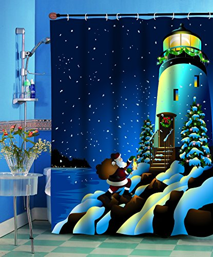 Carnation Homes Santa's Secret Lighthouse Christmas Fabric Shower Curtain 70 x 72
