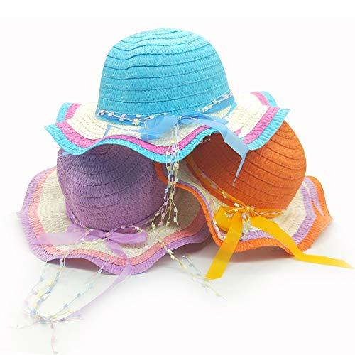 E-smartinlife 3Pcs Girls Tea Party Hats with Bowknot,Children Sun Hats, Beach Hats (Orange,Blue,Purple)