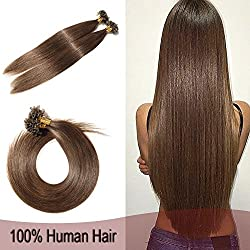"100 Strands U Tip Nail Glue Pre Bonded Human Remy Hair Extensions Keratin Fusion Hair 18"" 50g Straight Silky #4 Medium Brown"