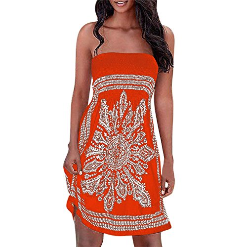 Hengshikeji Women Dress Elegant Sexy Ladies Strapless Floral Printed Bohemian Casual Mini Beach Dress Cover-ups Tank Dress Orange -