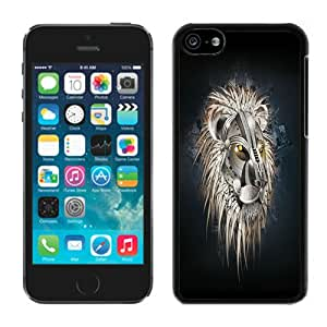 Unique Designed With Mecha Lion Cover Case For iPhone 5c Black Phone Case CR-408