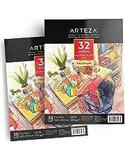 ARTEZA Cuadernos para acuarelas   Pack de 2 blocs de acuarela   Papel blanco de 300 gramos prensado en frío   Perfecto para pinturas de agua, medios secos y mixtos   64 hojas en total