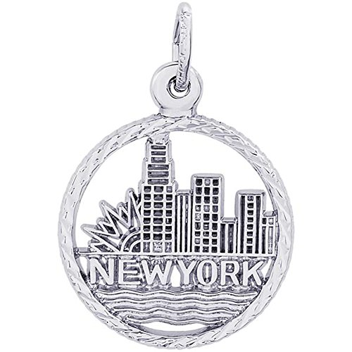 STERLING SILVER NEW YORK SKYLINE CHARM OR PENDANT IN GOLD OR SILVER (Sterling Silver)