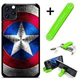 Hybrid Rugged Hard Cover Case Compatible with iPhone 11 (6.1') - Captain America Metalshield V (with Free Phone Stand Gift!)