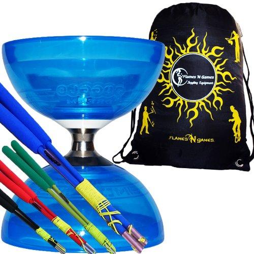 Cyclone QUARTZ Pro Diabolo Set (Blue) Triple Ball Bearing Clutch Diabolos + Colored FIBRE Sticks, Diablo String & Travel Bag! (Blue Handsticks)
