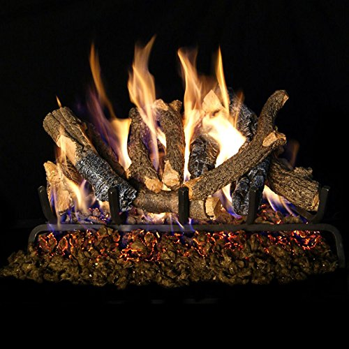 Charred Oak Stack (Real Fyre 24-inch Charred Oak Stack Vented Gas Logs Bundled with G4 Burner Kit (Propane))
