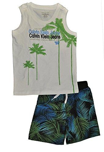 Calvin Klein Little Boys' Tank with Printed Shorts, Multi, 6