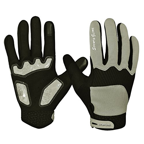 Cycling Gloves with Shock-absorbing Pad Full Finger Bike Gloves Bicycle Gloves Road Racing Gloves Mountain Bike Gloves Men/Women Work Gloves H-004 (Grey, X-Large) - Mens Full Finger