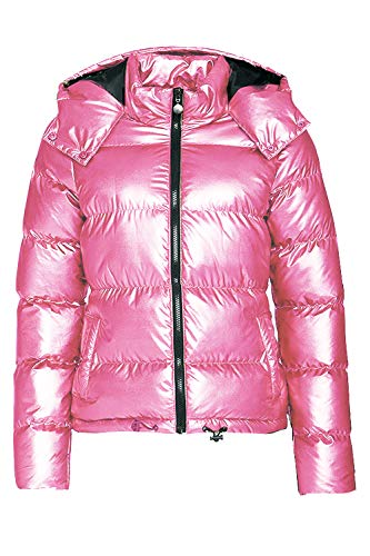 (Hoodies Outerwear Long Sleeve Sweatshirt Gold Metallic Zipper Up Punk Raincoat Showerproof Outerwear Quilted Jacket (PINK100, 3XL))