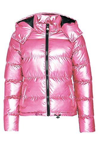 Hoodies Outerwear Long Sleeve Sweatshirt Gold Metallic Zipper Up Punk Raincoat Showerproof Outerwear Quilted Jacket (PINK100, - Quilted Metallic Jacket