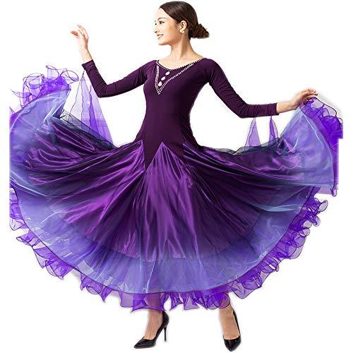 新規購入 garuda レディース社交ダンス衣装 3色 高級ダンスドレス 社交ダンスワルツ B07PBQK2H8 競技ワンピース ボリューム 3色 B07PBQK2H8 Small|パープル Small パープル Small, kimono5298:f94bfff4 --- a0267596.xsph.ru