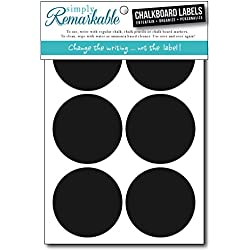 "Simply Remarkable Reusable Chalk Labels - 12 Circle Shape 2.5"" Chalk Stickers Wipe Clean and Reuse Organizing, Decorating, Crafts, Personalized Hostess Gifts, Wedding and Party Favors"