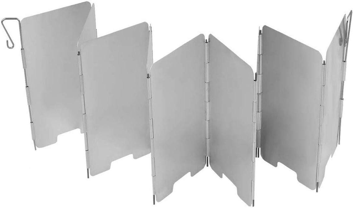 BSTHP Parabrisas de aluminio ligero mini para barbacoa, picnic, camping, 9 placas