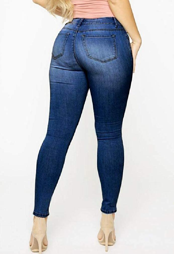 SHOWNO Womens Floral Embroidery Low Waisted Stretchy Jeans Denim Pencil Pants