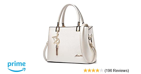 7e0bb03402ae Amazon.com  Womens Purses and Handbags Shoulder Bags Ladies Designer Top  Handle Satchel Tote Bag (Beige)  Shoes