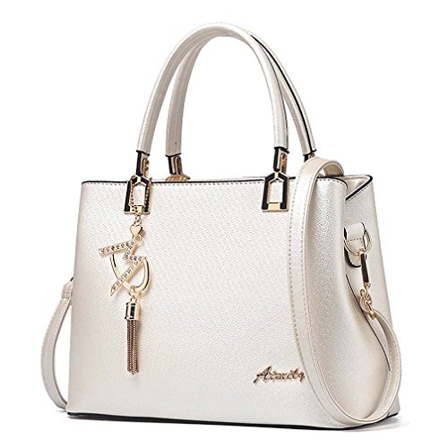 (Womens Purses and Handbags Shoulder Bags Ladies Designer Top Handle Satchel Tote Bag (Beige))