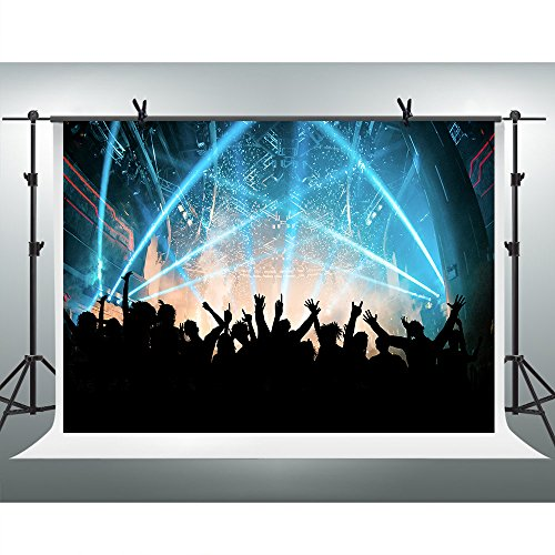 FHZON 7x5ft Stage Lighting Photography Backdrop Concert Audience Cheers Background Themed Party YouTube Backdrops Photo Booth Studio Props KFH135 from FHZON
