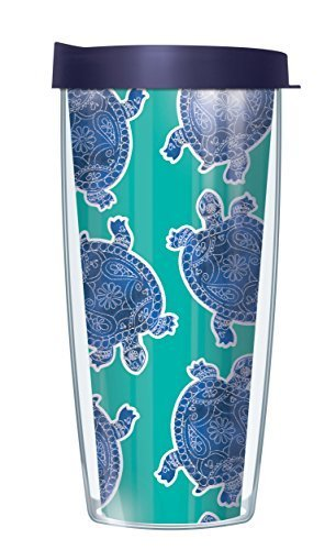 Sea Turtles Teal Traveler 16 Oz Tumbler Cup with Navy Lid - Turtle Cup