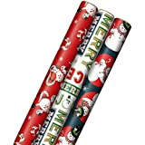 """Hallmark Vintage Christmas Wrapping Paper Cut Lines on Reverse (3 Rolls: 120 sq. ft. ttl) Dancing Santas, Classic Snowman, """"Merry, Jolly, Happy, Peace"""""""