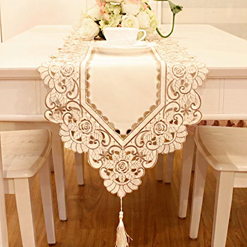Beige flower embroidered hemstitch crea table runner tapestry 72 inch approx by JH table runner