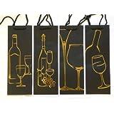 Set Of 4 Deluxe Black Wine Bottle Present Gift Bags Gold Design
