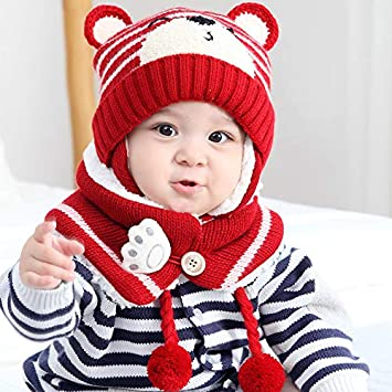 Wildlead Bebé Niño Invierno Orejeras de Punto Beanie Cap Bufanda Conjunto Niños Sombrero de Oso de Dibujos Animados