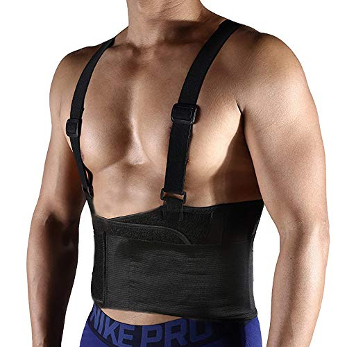 (FITTOO Unisex Industrial Work Back Brace for Heavy Lifting Safety Black M)