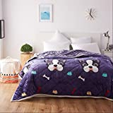 YAOHAOHAO Deep Purple Animal of the image of three layers of invisible heel heat bed linen flannel quilt Winter (Size: 120200cm).