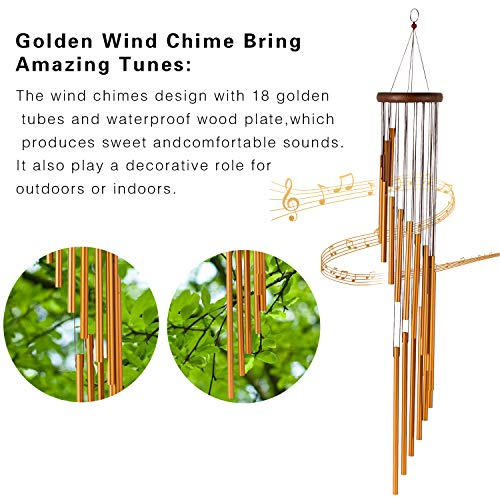occer 35'' Wind Chimes Outdoor, Memorial Amazing Grace Large Wind Chime kit with 3 Hook,18 Aluminum Tubes,Decor for Garden,Porch,Patio,Balcony, Indoor,Great Gift Choice,Golden by occer (Image #1)