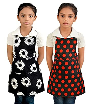 Switchon Waterproof Kids Multi Purpose Cooking Painting and School Apron with Front Pocket Pack of 2 Apron