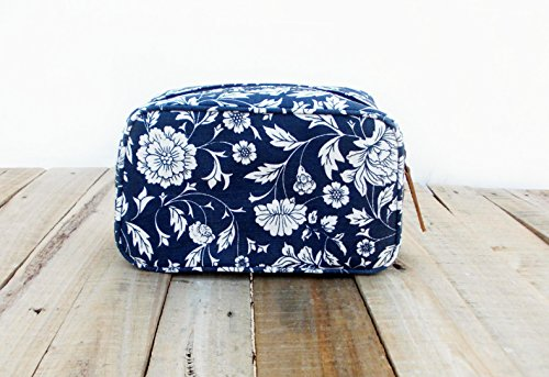 Indigo toiletry bag, floral print, laminated bag, block print cotton, leather trims, make up or cosmetic bag, utility pouch.