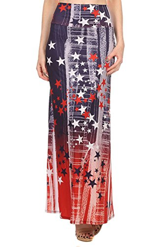 American Flag Patriotic Gradient Stars Womens Maxi Skirt (Large)