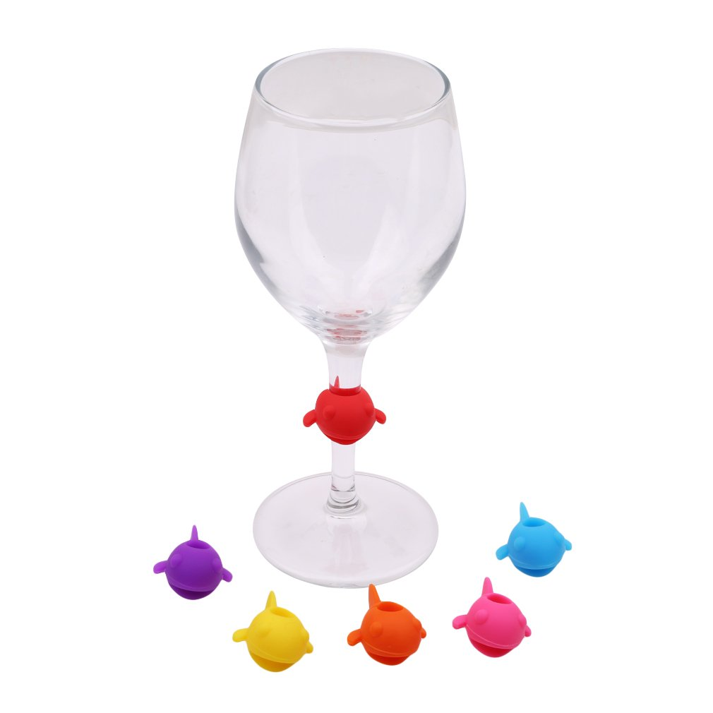 GUAngqi Silicone Wine Glass Recognizer Label Marker Silicone Label Wine Glass Marker Barware Accessories,Multicolor 1 (set) 6