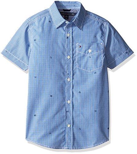 Tommy Hilfiger Little Boys' H-Stripe Short Sleeve Shirt, Deep Dive Blue, Large/6