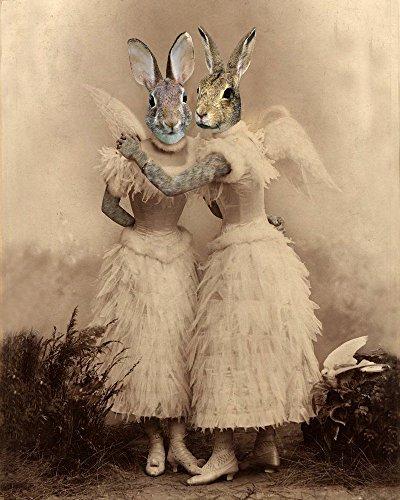 - ANGEL Victorian BUNNY SISTER Rabbit portrait lady fairy anthro altered art print