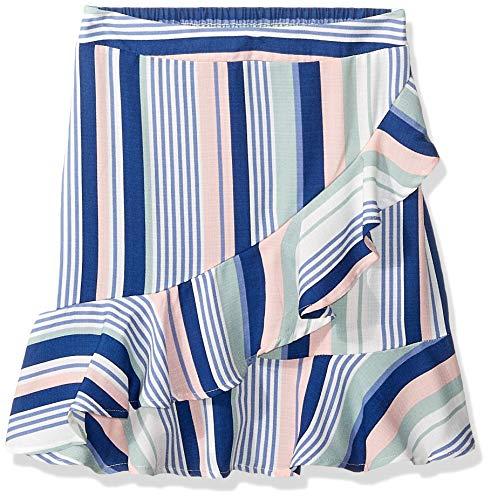 Amy Byer Girls' Big Ruffle Front Short Skirt, Blush/Sage/Navy Varied Stripe, X-Large ()
