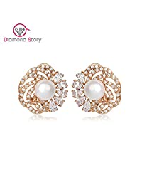 BMALL ing Earrings Cuff Fashion Statement Rose Gold Plated AAA Sea Shell Pearl Big Stud Earrings