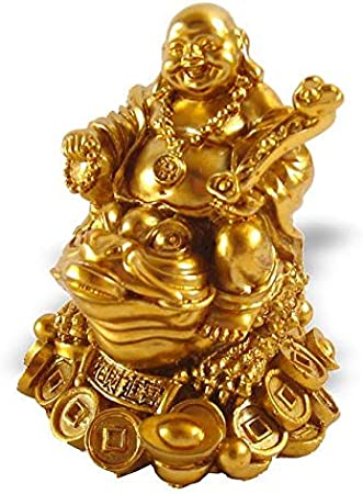 Bouddha Rieur Sur Crapaud de Fortune Feng Shui Chance Et Prosp/érit/é