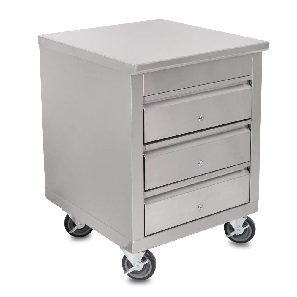 John Boos 4CD4-2724-CL Mobile Drawer Cabinet 24''W x 26-1/2''D x 33-3/4''H with 3 Tier 15'' x 20'' Drawers with Locks