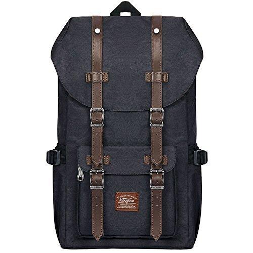 "KAUKKO Laptop Outdoor Backpack, Travel Hiking& Camping Rucksack Pack, Casual Large College School Daypack, Shoulder Book Bags Back Fits 15"" Laptop & Tablets (23BLACK)"