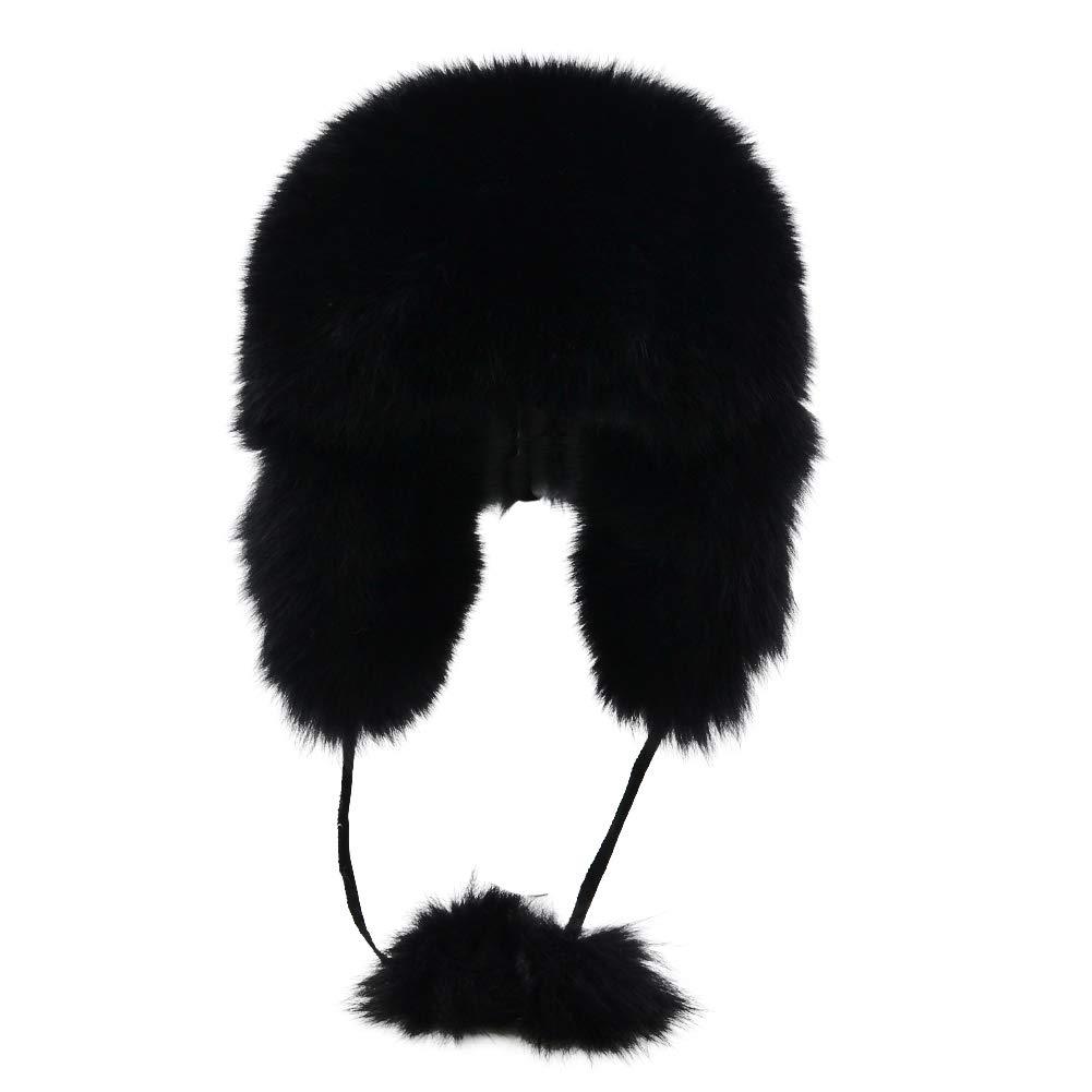 Sandy Ting Winter Fox Fur Trapper Hat Ushanka Russian Earflap Hunting Hat For Men and Women