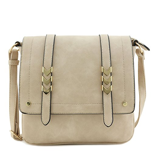 Double Compartment Large Flapover Crossbody Bag Dusty Beige