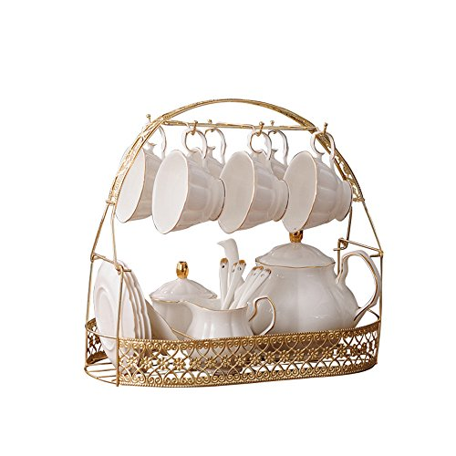 ufengke-ts 15 Pieces Simple White English Ceramic Tea Sets,Tea Pot,Bone China Cups with Metal Holder Matching Spoons,Afternoon Tea Set Service Coffee Set ()